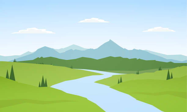 Vector illustration: Summer mountains landscape with river on foreground. Summer mountains landscape with river on foreground. valley stock illustrations