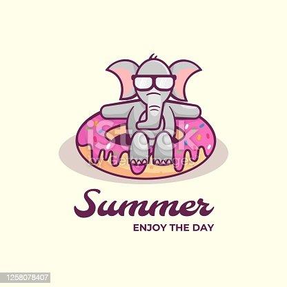 istock Vector Illustration Summer Simple Mascot Style. 1258078407