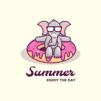 Vector Illustration Summer Simple Mascot Style.