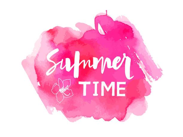 illustrazioni stock, clip art, cartoni animati e icone di tendenza di vector illustration summer time - magenta
