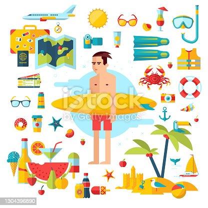 istock vector illustration summer vacation 1304396890