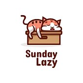 Vector Illustration Sunday Lazy Simple Mascot Style.