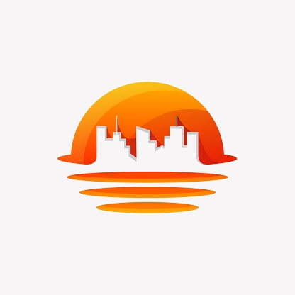 Vector Illustration Sunset City Gradient Colorful Style.