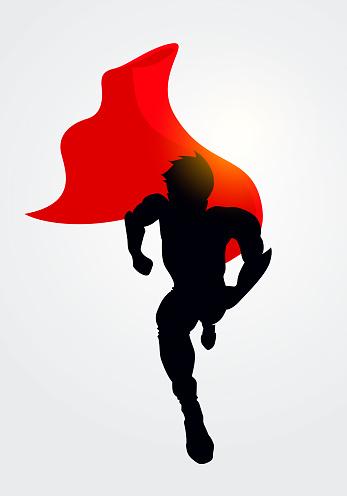 Vector Illustration Superhero Silhouette With Cape Running Forward