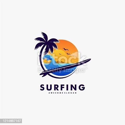 Vector Illustration Surfing Landscape Vintage Badge Style.