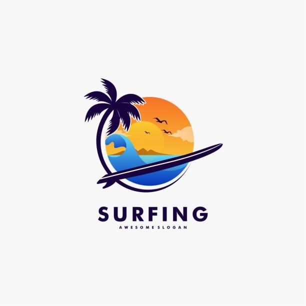 Vector Illustration Surfing Landscape Vintage Badge Style. Vector Illustration Surfing Landscape Vintage Badge Style. idyllic stock illustrations