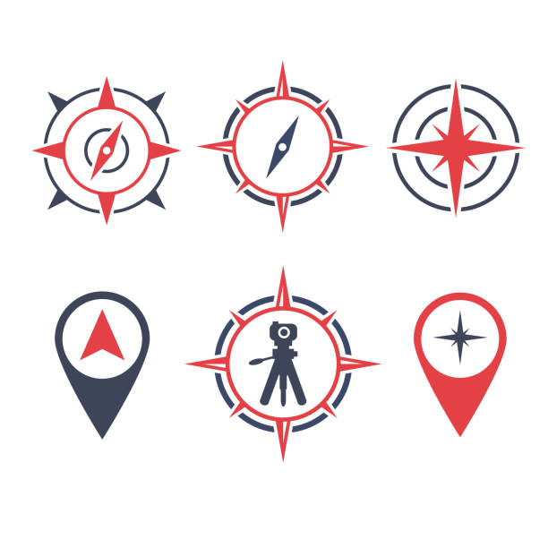 vector illustration survey land icon with location compass and camera - compass stock illustrations