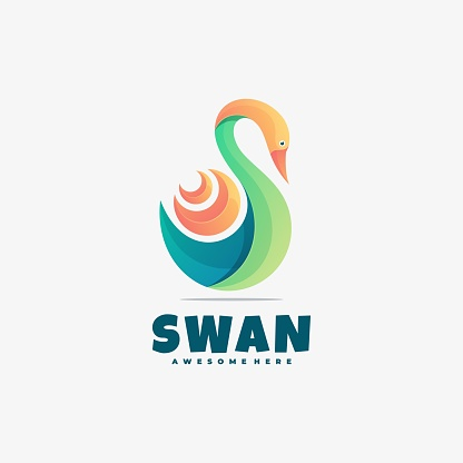 Vector Illustration Swan Gradient Colorful Style.