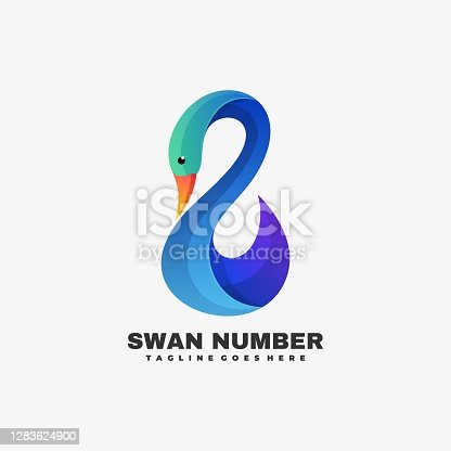 Vector Illustration Swan Number Gradient Colorful Style.