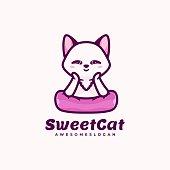 Vector Illustration Sweet Cat Simple Mascot Style.