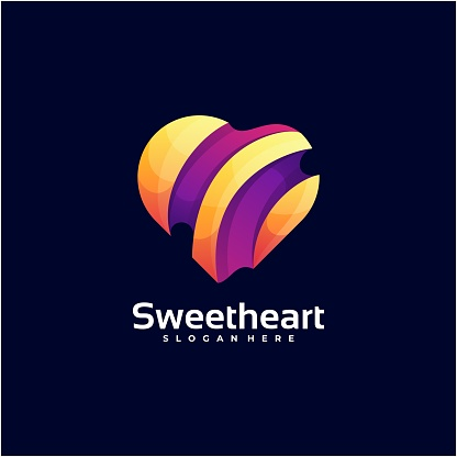 Vector Illustration Sweet Heart Gradient Colorful Style.