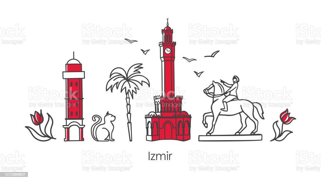 Vector Illustration Symbols And Landmarks Of Izmir Turkey Stock Illustration Download Image Now Istock