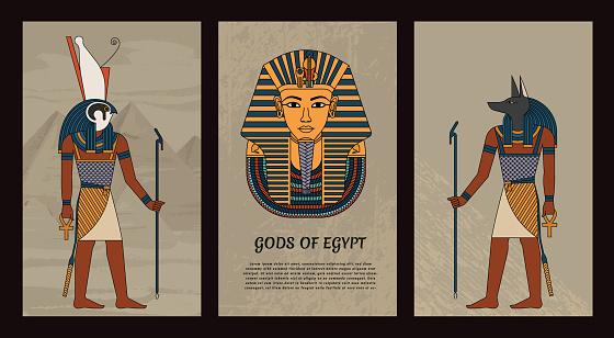 Vector illustration symbols of ancient Egypt Egyptian gods Anubis and Horus, and mask of pharaoh Tutankhamun. In colored vintage style. EPS 10