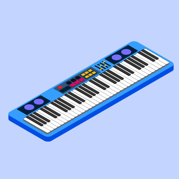 vector illustration synthesizer. musical equipment. 3d isometric design. eps - pianino instrument klawiszowy stock illustrations