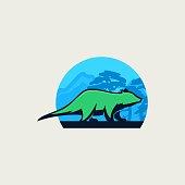 Vector Illustration Tasmanian With Landscape Vintage Badge.