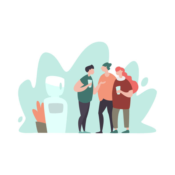 Vektor-Illustration-Team diskutieren in ihrer Kaffeepause – Vektorgrafik