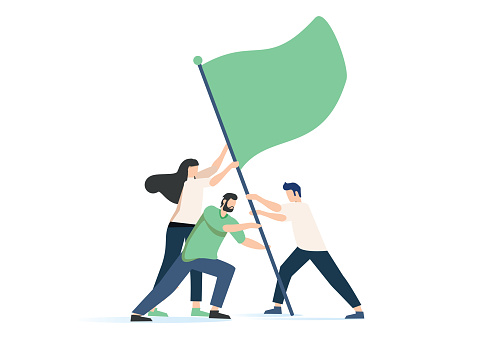 Vector illustration, teamwork, goal achievement, flag as a symbol of success and heights. People raise a flag together
