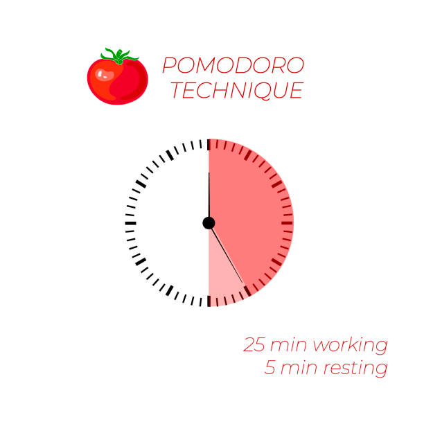 Vector Illustration: Technique Pomodoro, Time Management, Watch Face, Infographic. Vector Illustration: Technique Pomodoro, Time Management, Watch Face, Infographic on White Background. tomato sauce stock illustrations