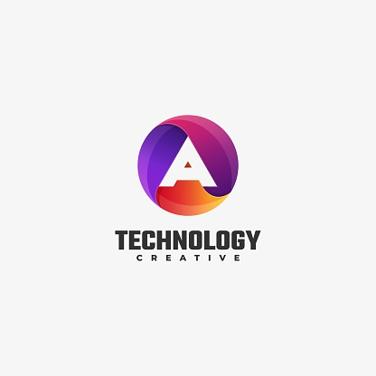 Vector Illustration Technology Gradient Colorful Style.