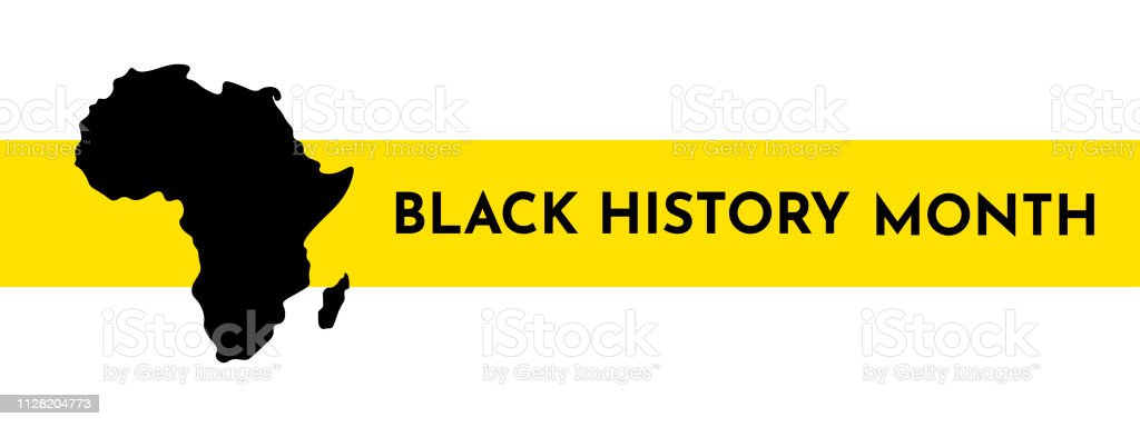 Vector illustration template for title with yellow stripe. Black history month. vector art illustration