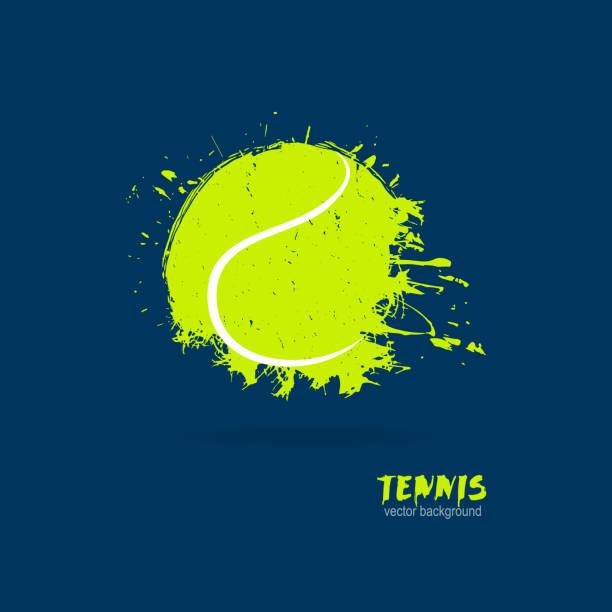 vector illustration tennis ball. design print for t-shirts. - tennis stock illustrations, clip art, cartoons, & icons