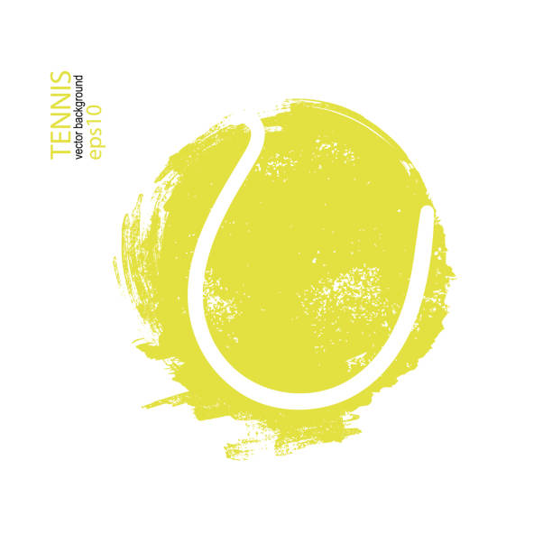 Vector illustration tennis ball isolated. Design print for T-shirts, hand drawing. Element sports for the poster, banner, flyer, grunge, spray). vector art illustration