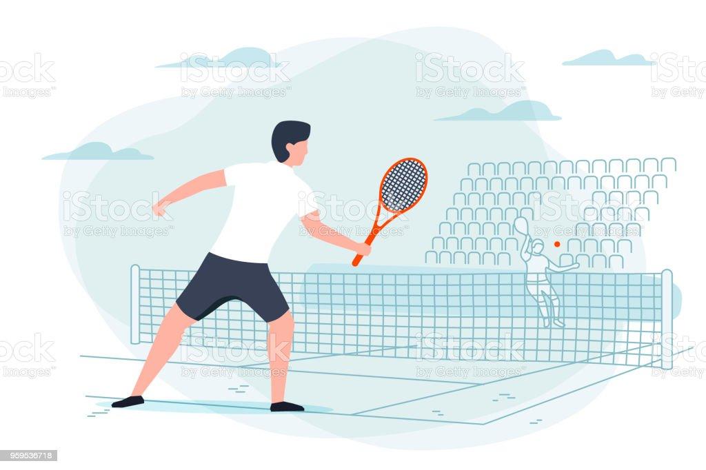 Vector illustration tennis game. Man with racket vector art illustration