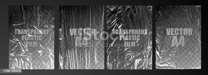 istock vector illustration. texture transparent stretched film polyethylene. vector design element graphic rumpled plastic warp 1256138405