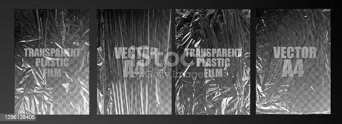 ilustração vetorial. textura transparente filme esticado polietileno. elemento de design vetorial gráfico rumpled plastic warp