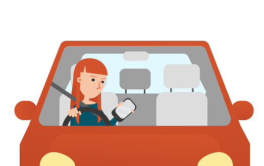 Vector Illustration. The Young Woman Looking at hers Mobil Phone while Driving.