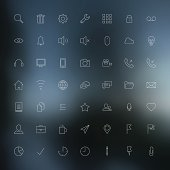 Vector illustration, thin icon outline set