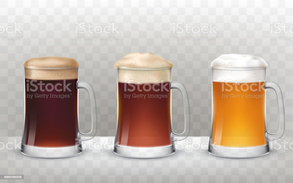 Vector illustration three glass beer mugs with a different beer isolated on a transparent background vector art illustration