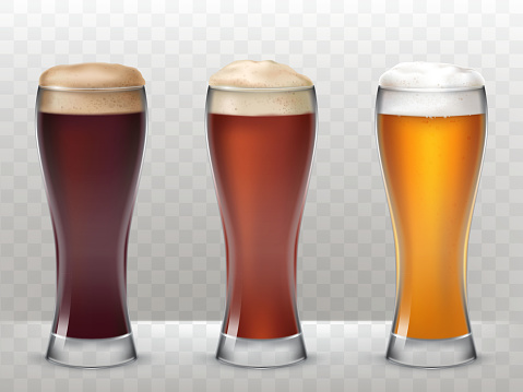 Vector illustration three tall glasses with a different beer isolated on a transparent background