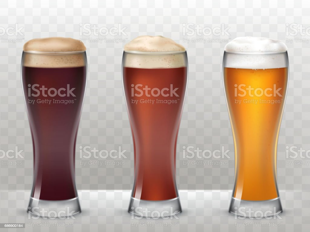 Vector illustration three tall glasses with a different beer isolated on a transparent background vector art illustration
