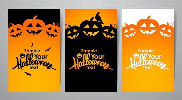 vector illustration: three vertical layout of poster or flyer with handwritten lettering of halloween - halloween stock illustrations, clip art, cartoons, & icons