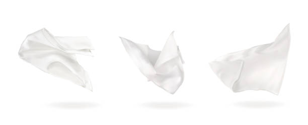 stockillustraties, clipart, cartoons en iconen met vector illustratie drie witte vliegende servet - servet