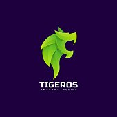 Vector Illustration Tiger Gradient Colorful Style.