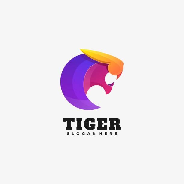 Vector Illustration Tiger Gradient Colorful Style. Vector Illustration Tiger Gradient Colorful Style. carnivorous stock illustrations