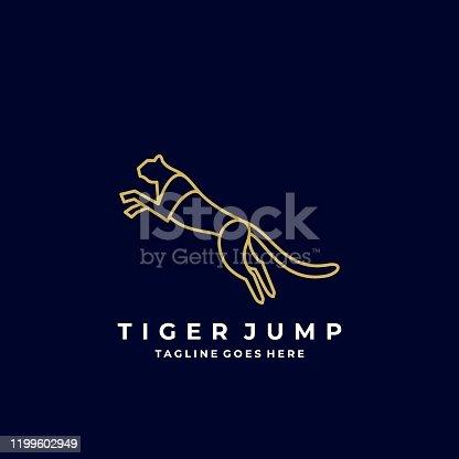 istock Vector Illustration Tiger Jump Line Art 1199602949