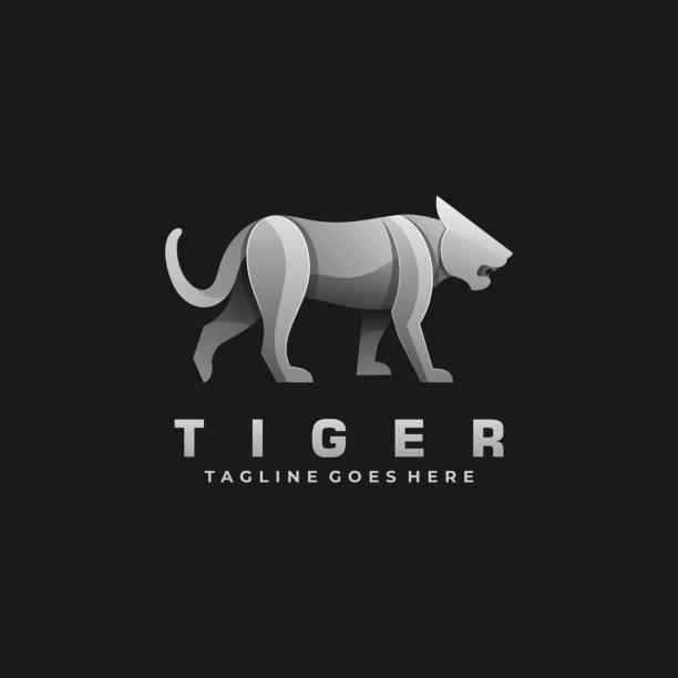 Vector Illustration Tiger Walking Gradient Colorful Style. Vector Illustration Tiger Walking Gradient Colorful Style. giant fictional character stock illustrations