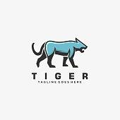 Vector Illustration Tiger Walking Mascot Cartoon Style.