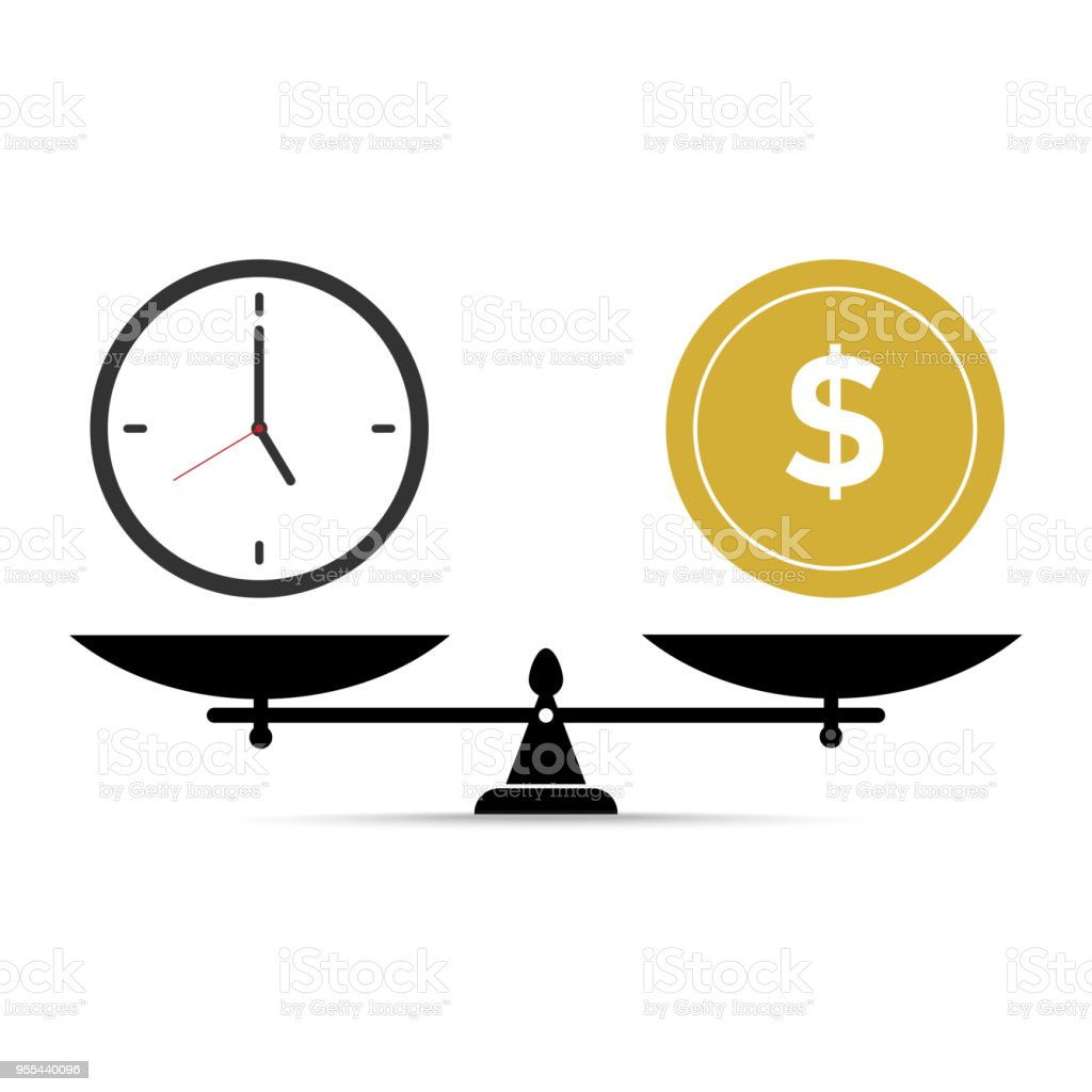 vector illustration, time and money on scales isolated on a white background. vector art illustration