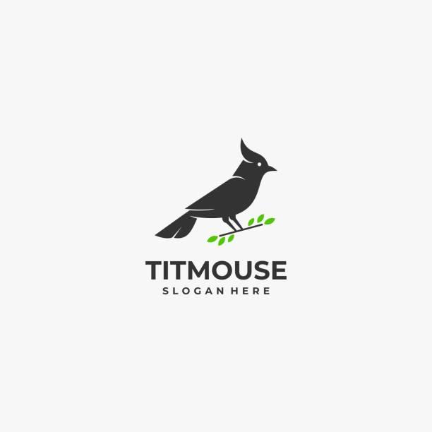Vector Illustration Titmouse Silhouette Style. Vector Illustration Titmouse Silhouette Style. songbird stock illustrations