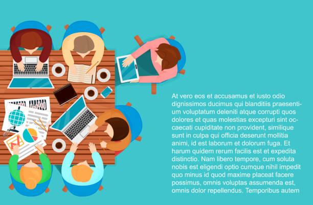 vector illustration draufsicht des arbeitenden menschen mit laptops und dokumente an einen tisch. - entspannungsmethoden stock-grafiken, -clipart, -cartoons und -symbole