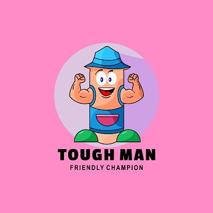 Vector Illustration Tough Man Simple Mascot Style.