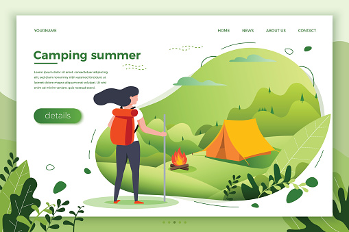 Vector illustration -  tourist girl looking on camping place with bonfire. Forests, trees and hills on green background. Banner, site, poster template with place for your text.