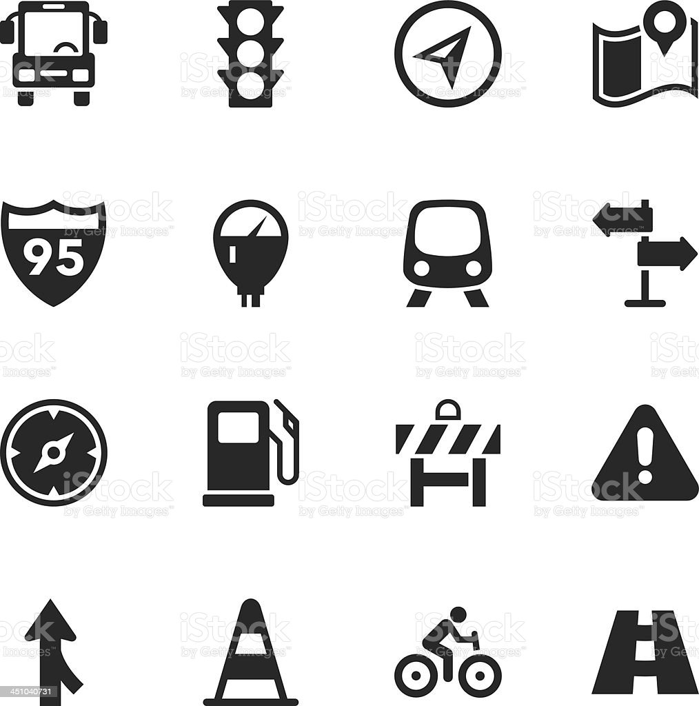 Vector illustration traffic silhouette icons vector art illustration
