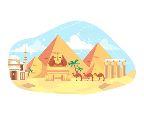 Vector illustration travel and landmark Egypt