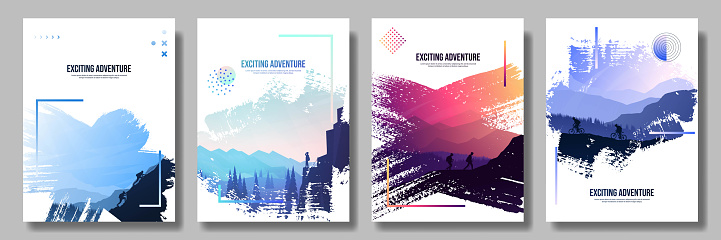 Vector illustration. Travel concept of discovering, exploring and observing nature. Hiking. Climbing. Adventure tourism. Flat design elements brochure, magazine, book cover, invitation, poster, card