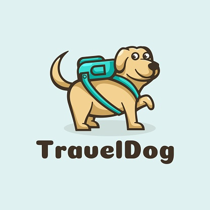 Vector Illustration Travel Dog Simple Mascot Style.